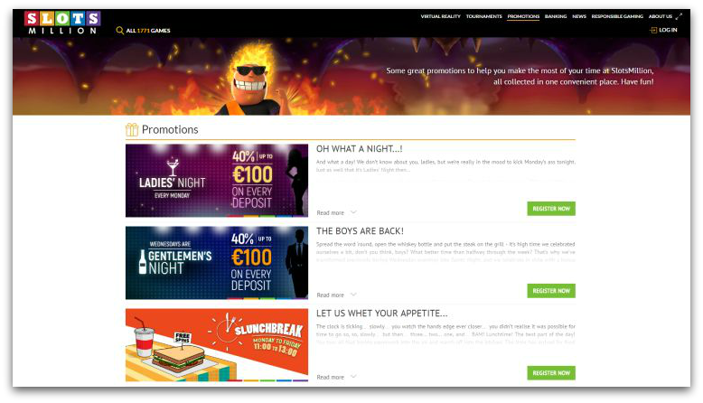 Slots Million casino promoties