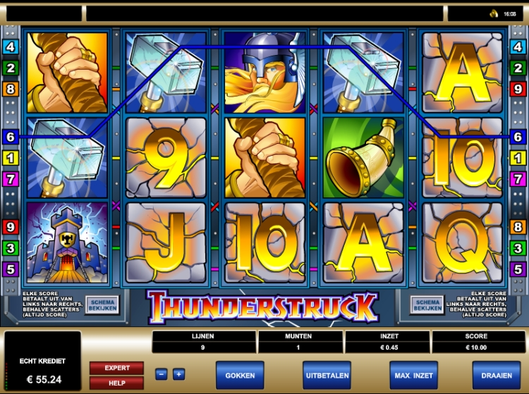 Thunderstruck Microgaming screen